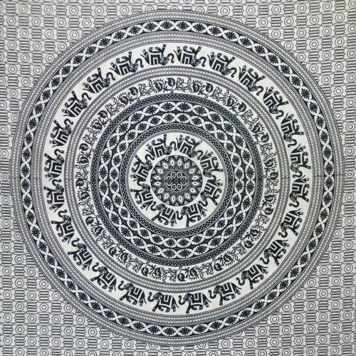 Tagesdecke elefanten mandala schwarz wei hotani for Indische wohnaccessoires